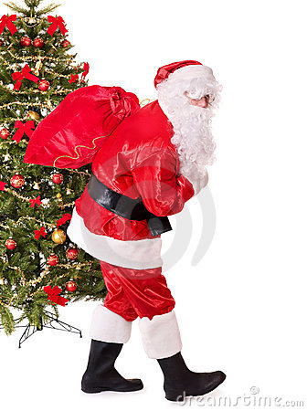 Santa claus  carrying sack by christmas tree.