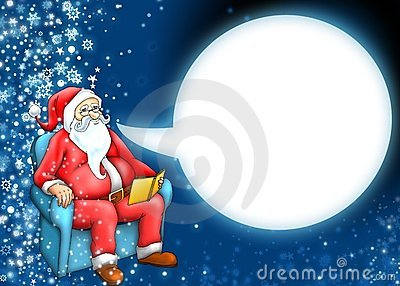 Santa claus and cartoon moon cloud