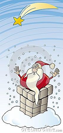 Santa claus in chimney christmas card
