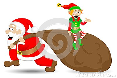 Santa claus with christmas elf
