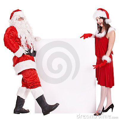Santa claus and christmas girl holding banner.