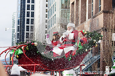 Santa Claus at christmas parade downtown