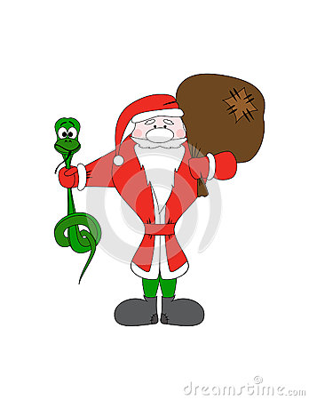 Santa Claus with christmas snake and gift bag