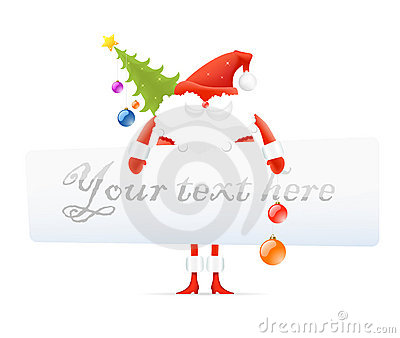Santa Claus, Christmas tree, blank board for text
