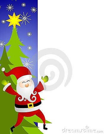 Santa Claus Christmas Tree Border
