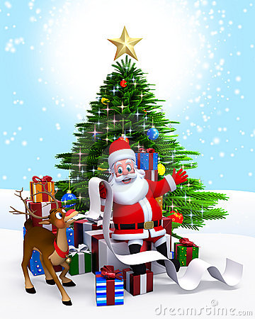 Santa Claus & Christmas tree with gift list