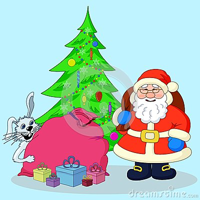 Santa Claus, Christmas tree and gifts
