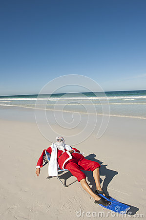 Free Santa Claus Christmas Tropical Beach Stock Photography - 27723292