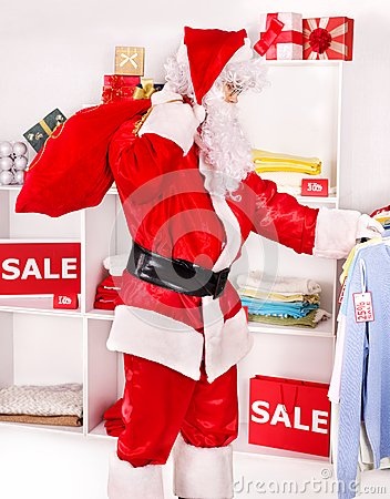 Santa Claus in clothing store.