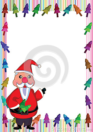 Santa Claus Colorful Tree Frame_eps