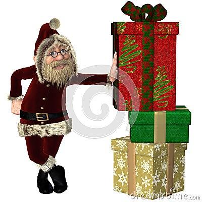 Santa Claus com a pilha de presentes do Natal