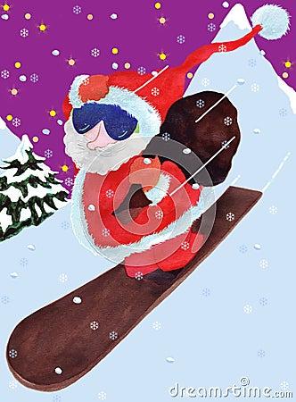 Santa Claus comes down the montain