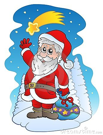 Santa Claus with comet