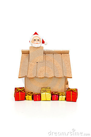 Free Santa Claus Coming From Chimney Royalty Free Stock Photography - 23514727