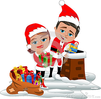 Santa Claus Couple Delivering Xmas Gifts On Roof Stock