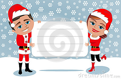 Santa Claus Couple Holding Blank Card