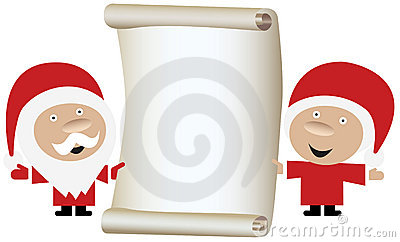 Santa Claus couple holding a blank paper roll