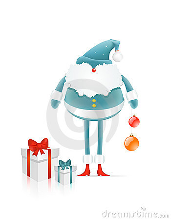Santa Claus with cristmas balls and gifts