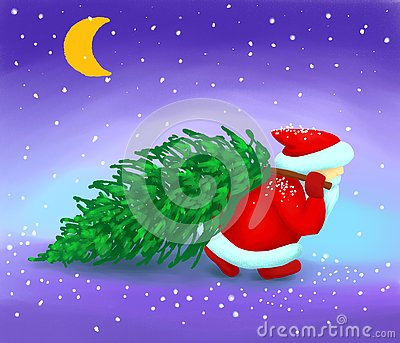 Santa Claus carries a Christmas tree in the snow Stock Photo
