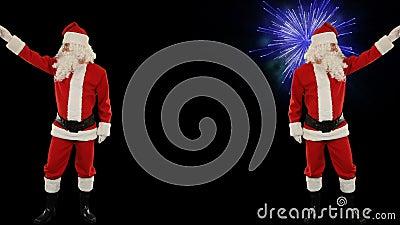 Santa Claus Dancing aisló, la danza 7, exhibición de los fuegos artificiales almacen de video