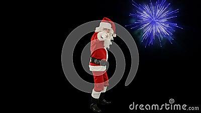Santa Claus Dancing aisló, la danza 3, exhibición de los fuegos artificiales almacen de metraje de vídeo