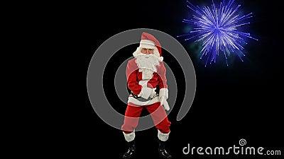 Santa Claus Dancing aisló, la danza 8, exhibición de los fuegos artificiales almacen de metraje de vídeo