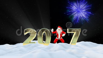 Santa Claus Dancing 2017 text, Dance 5, winter landscape and fireworks. Hd video stock video