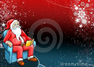 Santa claus with dark red blue background