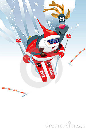 Santa Claus and Deer funny ski