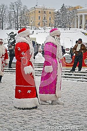 Santa Claus (Did Moroz) greets people, Christmas, Editorial Photo
