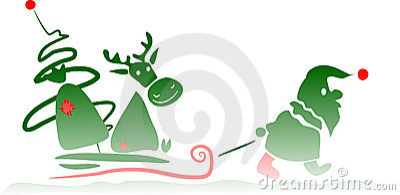 Santa Claus dragging his deer