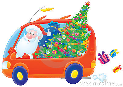 Santa Claus drives in his car