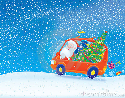 Santa Claus driving in snowstorm
