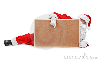 Santa claus and empty bulletin board