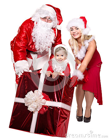 Santa claus family with child holding  gift box..