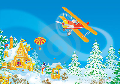Santa Claus flies in his airplane