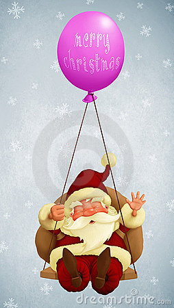 Santa Claus fly With a Balloon