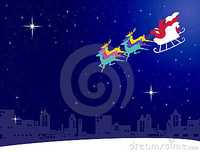 Santa claus fly with his sleigh to the city