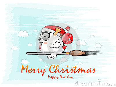Santa Claus flying on a brush, and a bomb. Christmas Card Design