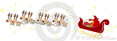 Santa Claus flying with sleigh
