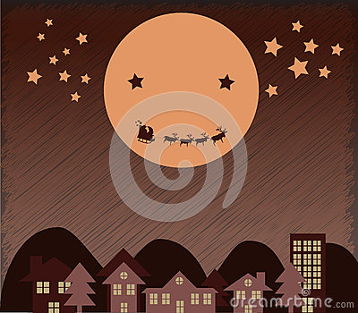Santa Claus flying upper city beside Moon