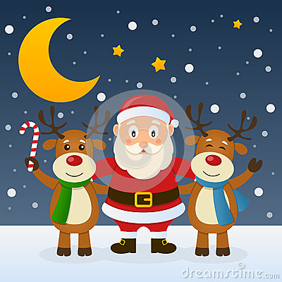 Santa Claus with Funny Reindeer