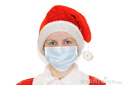 Santa claus in a gauze bandage