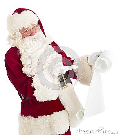 Santa Claus Gesturing At Wish List