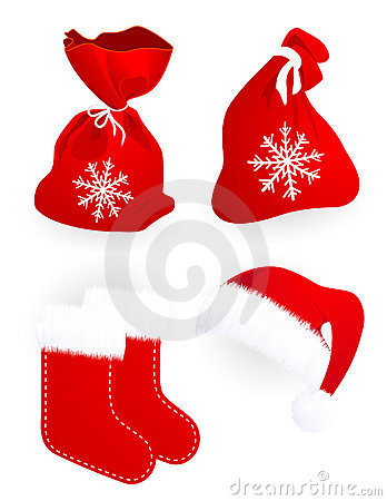 Santa Claus gift bags socks and hat