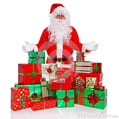 Santa Claus with gift wrapped presents