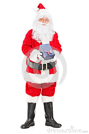 Santa Claus with a giftbox in his hands