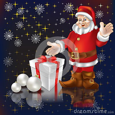 Santa Claus with gifts on a black