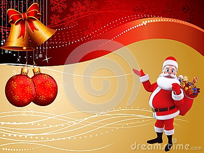 Santa claus with gifts on cream colored background