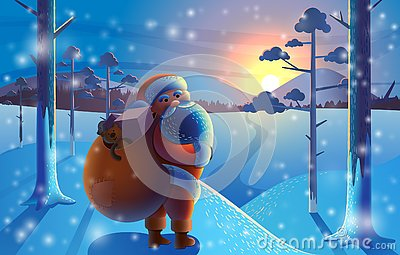 Santa Claus with gifts goes to the winter forest. Merry Christ Vector Illustration